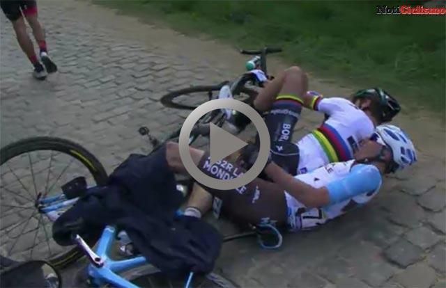 Sagan, Van Avermaet y Naesen sufren una caída en el Kwaremont