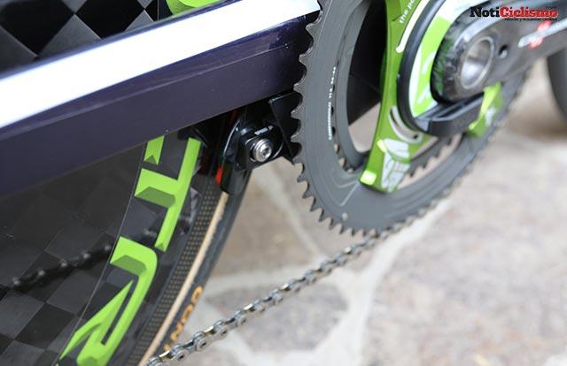 Freno trasero esa completamente integrado al marco de la bicicleta