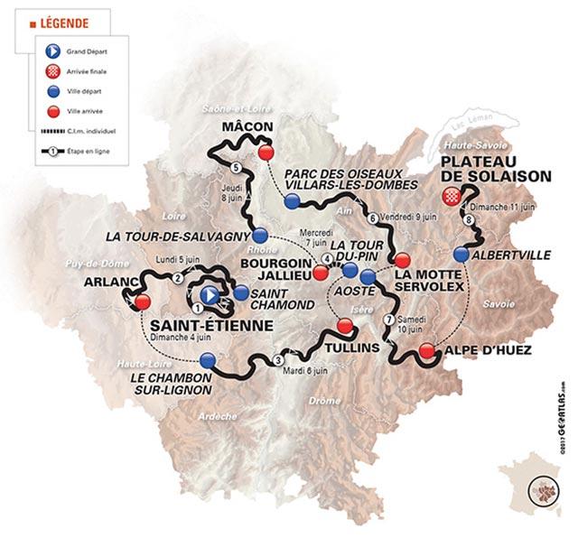 Critérium du Dauphiné 2017: Recorrido