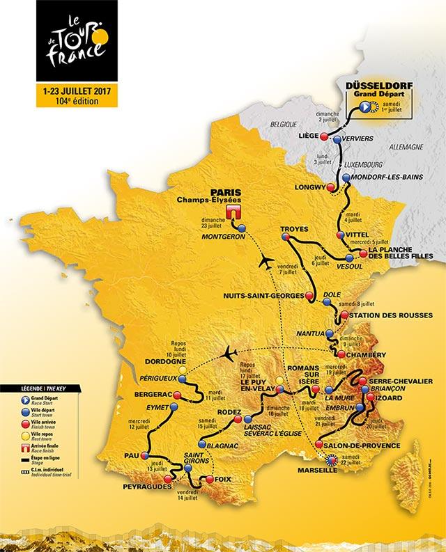 Tour de Francia 2017: Recorrido