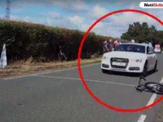 Momento aterrador en que un hombre atropella con un Audi a varios ciclistas