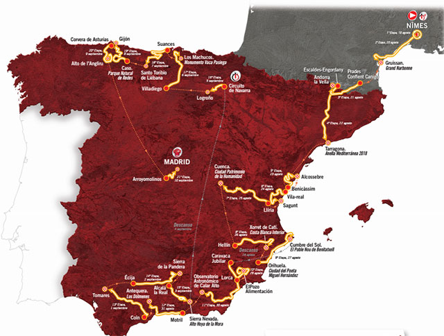Vuelta a España 2017: Recorrido