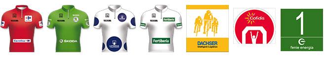Distintas camisetas y premiaciones de la Vuelta a España