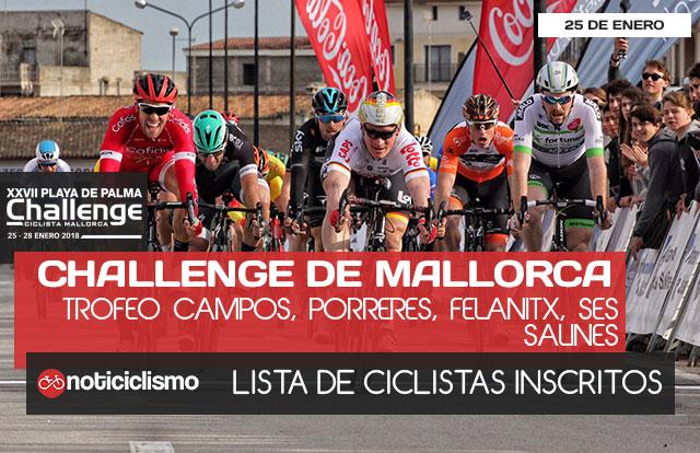 Challenge de Mallorca 2018: Ciclistas inscritos en el Trofeo Campos, Porreres, Felanitx, Ses Salines