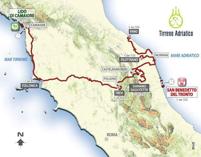 Recorrido de la Tirreno-Adriático 2018