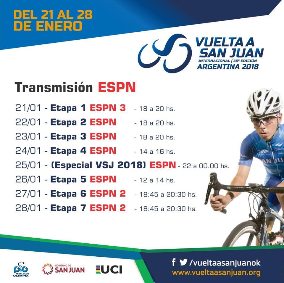 Vuelta a San Juan 2018: Horarios