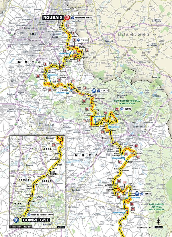 Recorrido de la Paris-Roubaix 2018