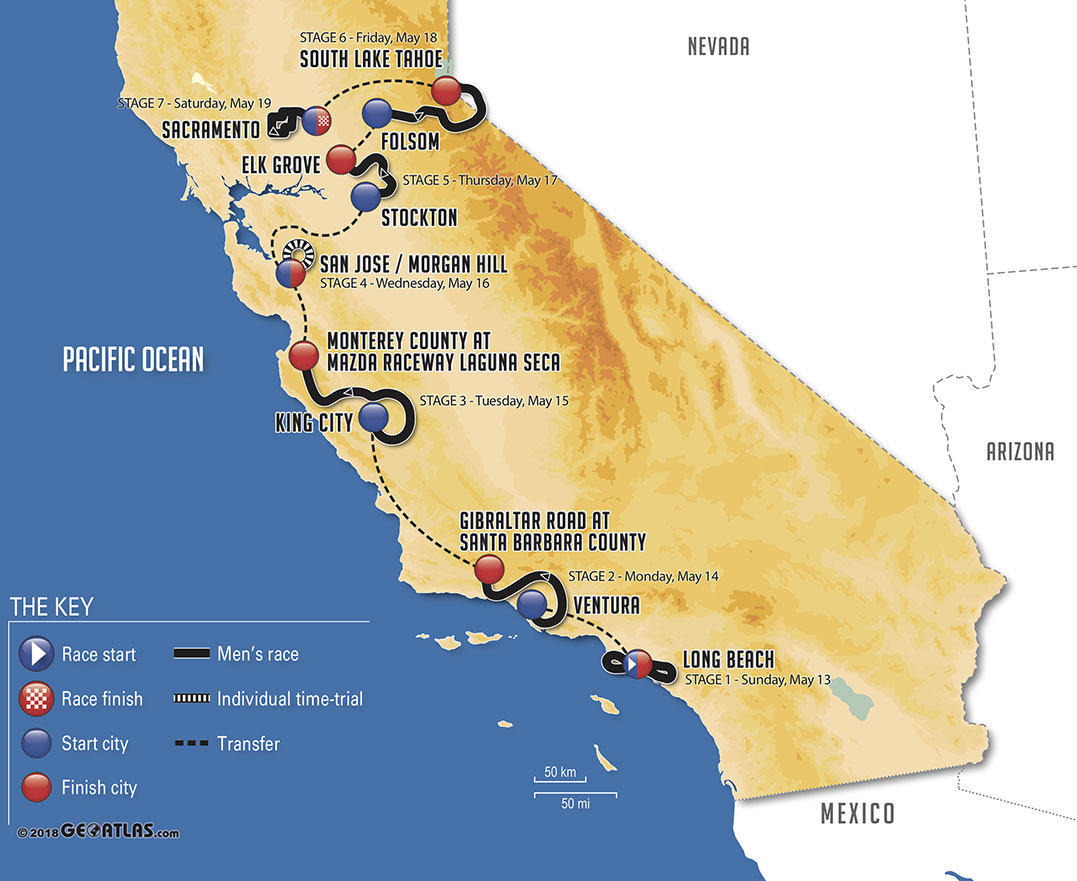 Amgen Tour of California 2018 - Recorrido