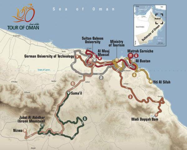 Tour de Omán 2018: Recorrido