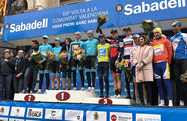 Pódium final de la Vuelta a la Comunidad Valenciana 2018
