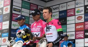 Nairo Quintana (Movistar Team), Egan Bernal (Team Sky) y Rigoberto Urán (EF Education First-Drapac)