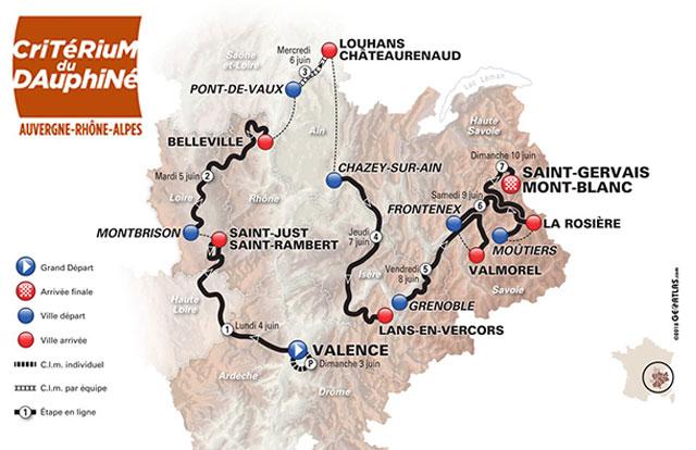 Recorrido del Critérium du Dauphiné 2018