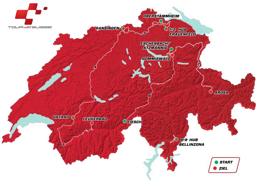 Tour de Suiza 2018 - Recorrido