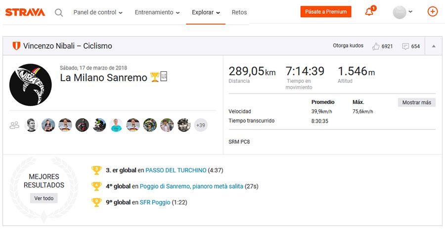 Registros en Strava de Vincenzo Nibali en la Milán-San Remo 2018