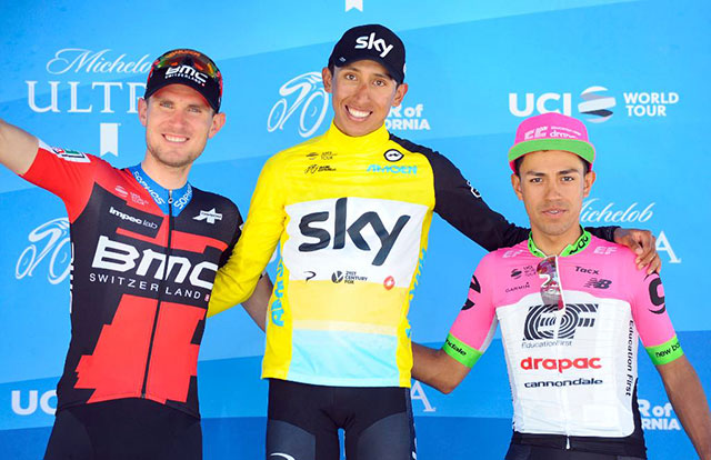Tejay Van Garderen (BMC Racing), Egan Bernal (Team Sky) y Daniel Felipe Martínez (EF Education First-Drapac)
