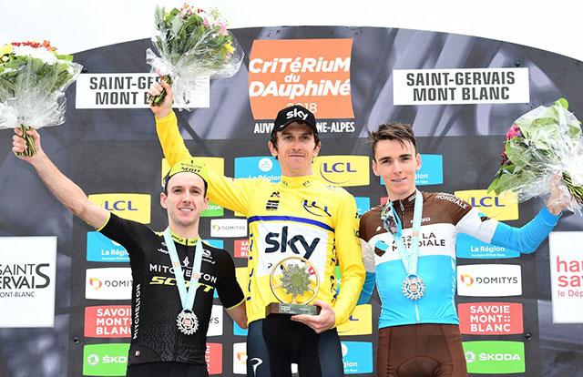 Pódium final del Critérium du Dauphiné 2018