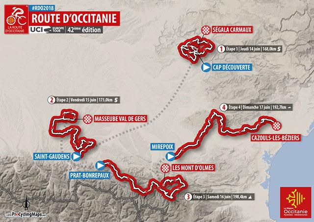 Recorrido de La Route d'Occitanie 2018