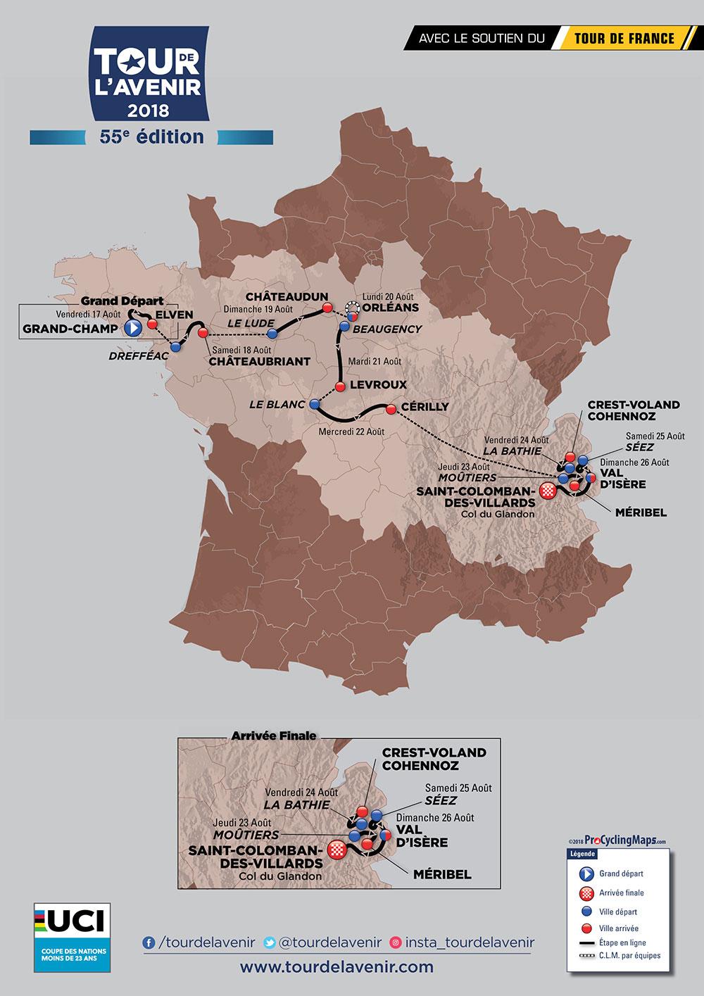 Tour de l'Avenir 2018 - Recorrido