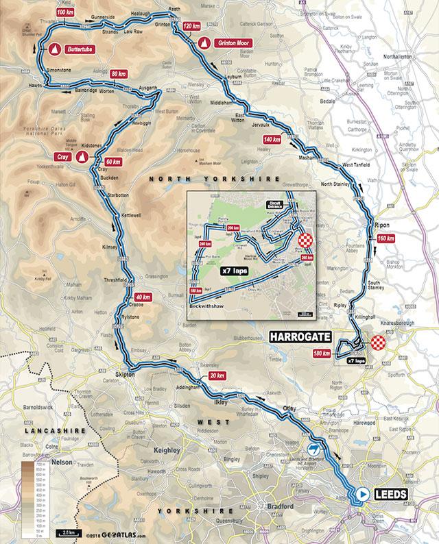Mundial de Ciclismo 2019 - Carrera de Ruta Elite Masculino - Recorrido