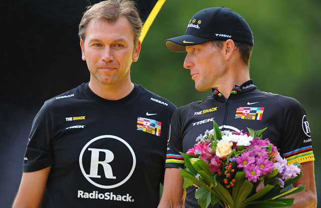 Lance Armstrong y Johan Bruyneel