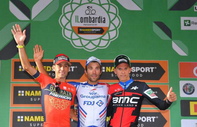 Pódium del Giro de lombardia 2018