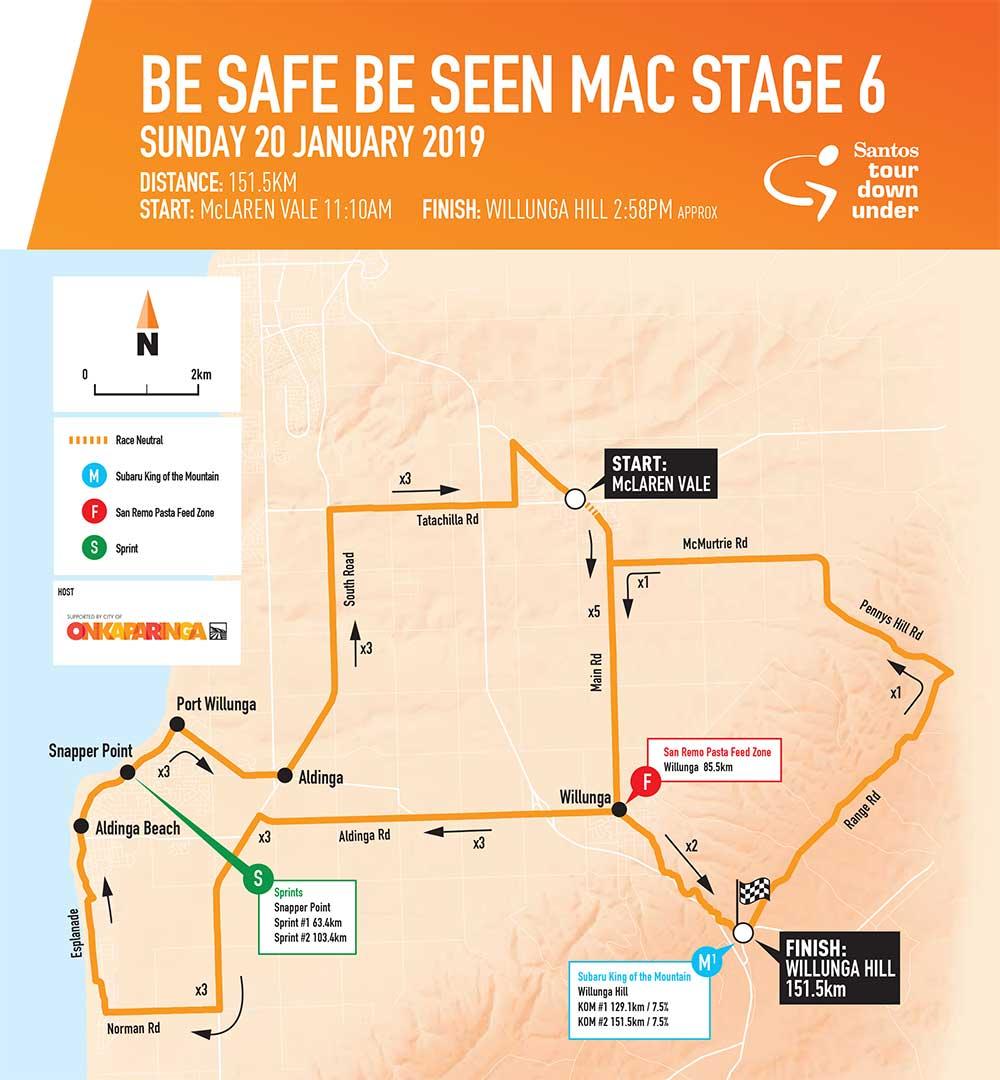 Recorrido de la Etapa 6 del Tour Down Under 2019