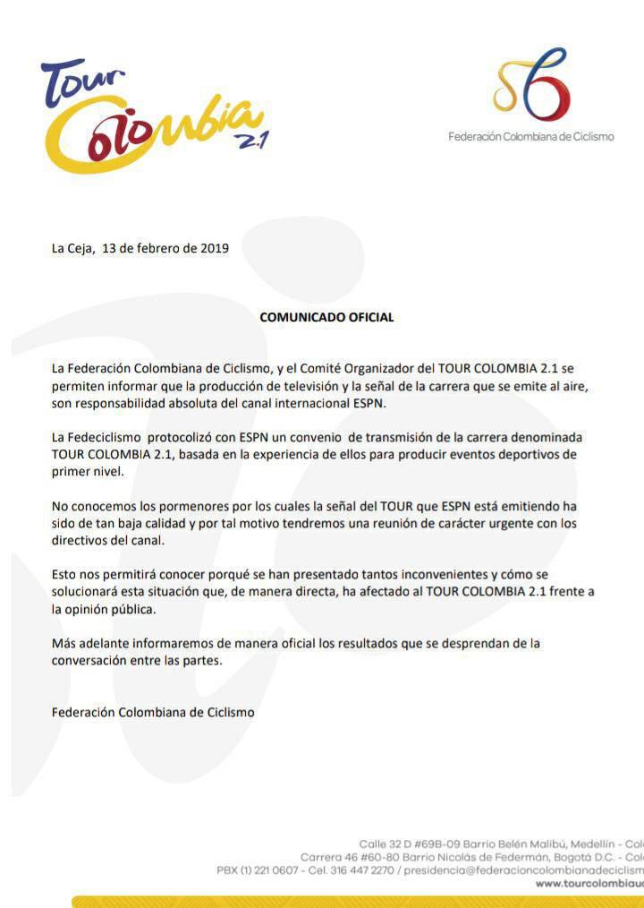 Tour Colombia 2019 - Comunicado TV