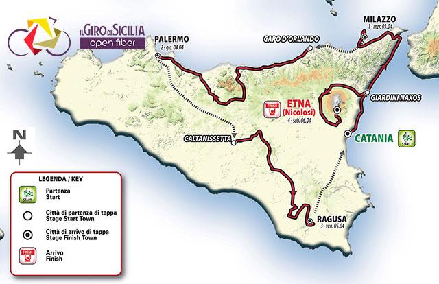 Giro de Sicilia 2019 - Recorrido
