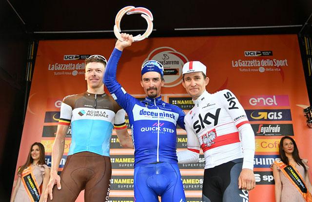 Pódium final de Milán-San Remo 2019