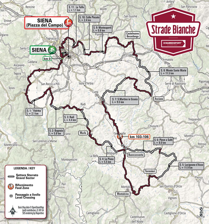 Strade Bianche 2019 - Recorrido