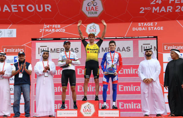 Pódium final del UAE Tour 2019