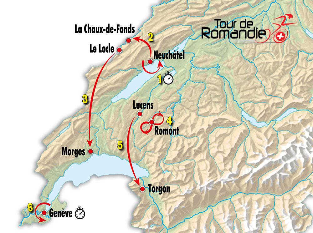 Tour de Romandía 2019 - Recorrido