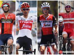 Vicenzo Nibali, Richie Porte, Bauke Mollema y Mads Pedersen