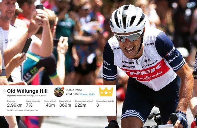 Richie Porte destroza la marca de escalada al Willunga Hill