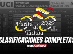 Vuelta al Táchira 2020 - Clasificaciones Completas