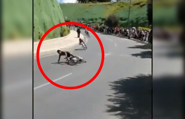 Así fue la aparatosa caída de Egan Bernal en el Campeonato Colombiano de Ruta
