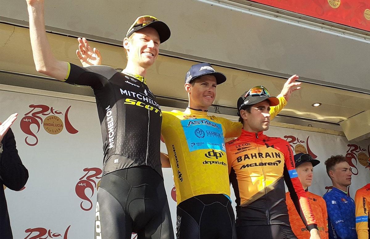 Jack Haig (Mitchelton-Scott), Jakob Fuglsang (Astana) y Mikel Landa (Bahrain McLaren)