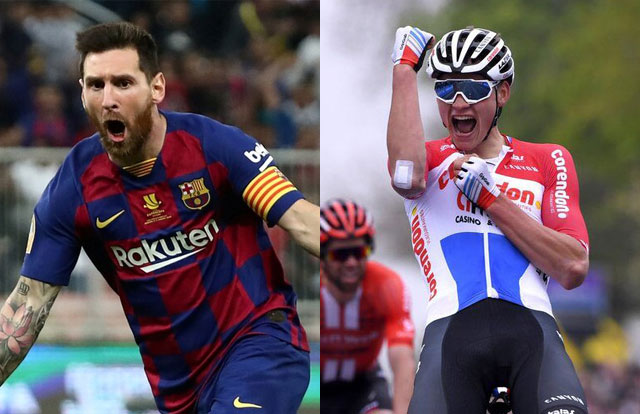 Lionel Messi y Mathieu Van der Poel