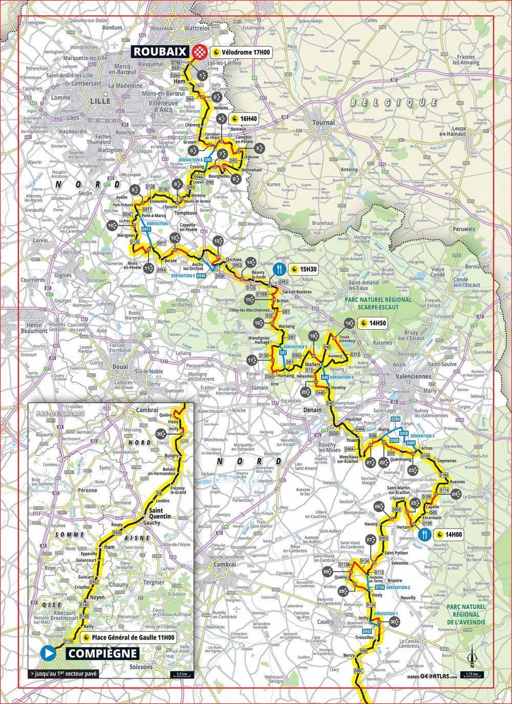 Paris-Roubaix 2020 - Recorrido