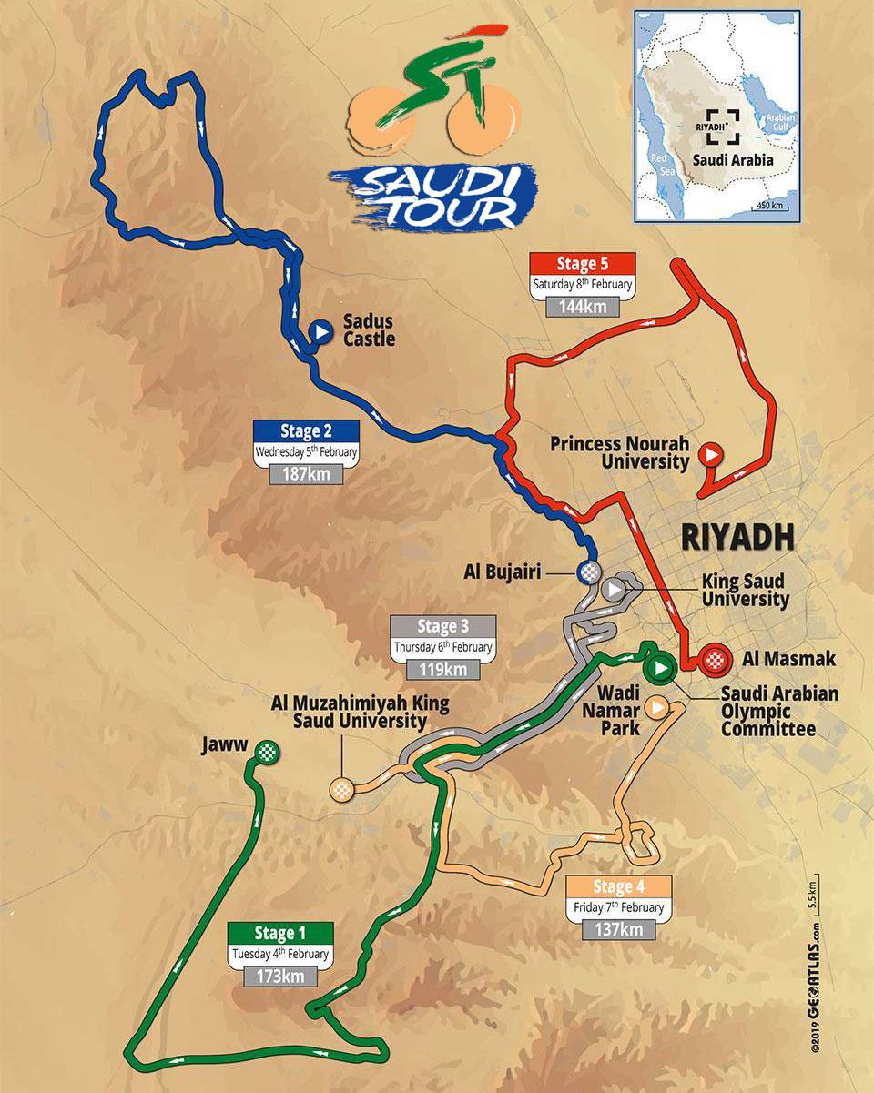 Tour de Arabia Saudita 2020 - Recorrido