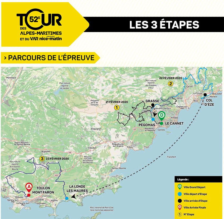 Tour des Alpes Maritimes et du Var 2020 - Recorrido