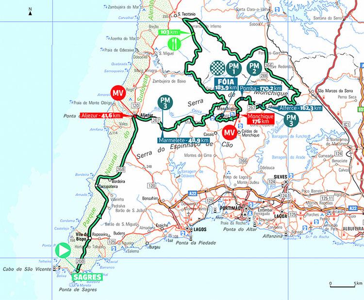 Recorrido de la Etapa 2 de la Volta ao Algarve 2020