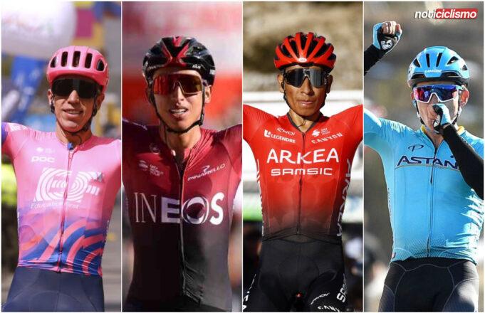 Nairo Quintana, Egan Bernal, Rigoberto Uran y Miguel Ángel López
