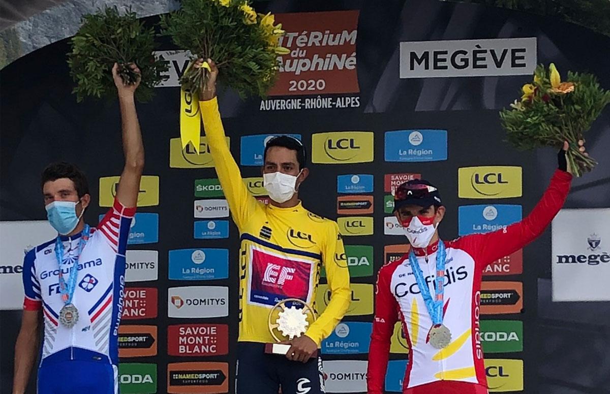 Pódium final del Critérium du Dauphiné 2020