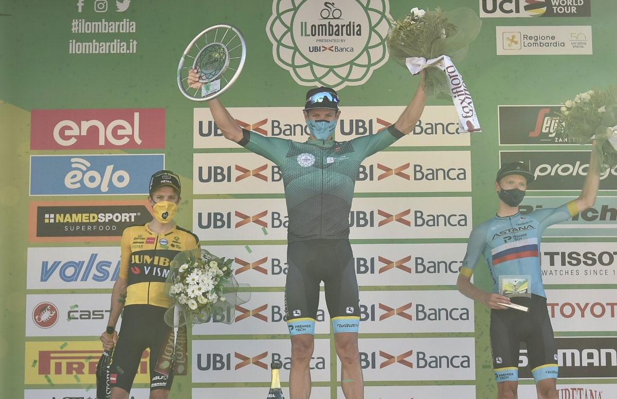 Pódium del Giro de Lombardía 2020