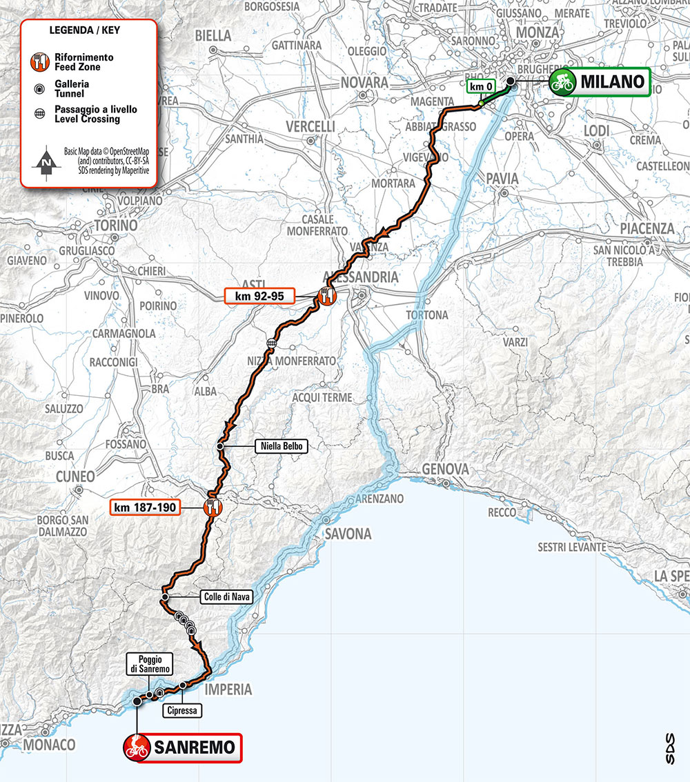 Milán-San Remo 2020 - Recorrido