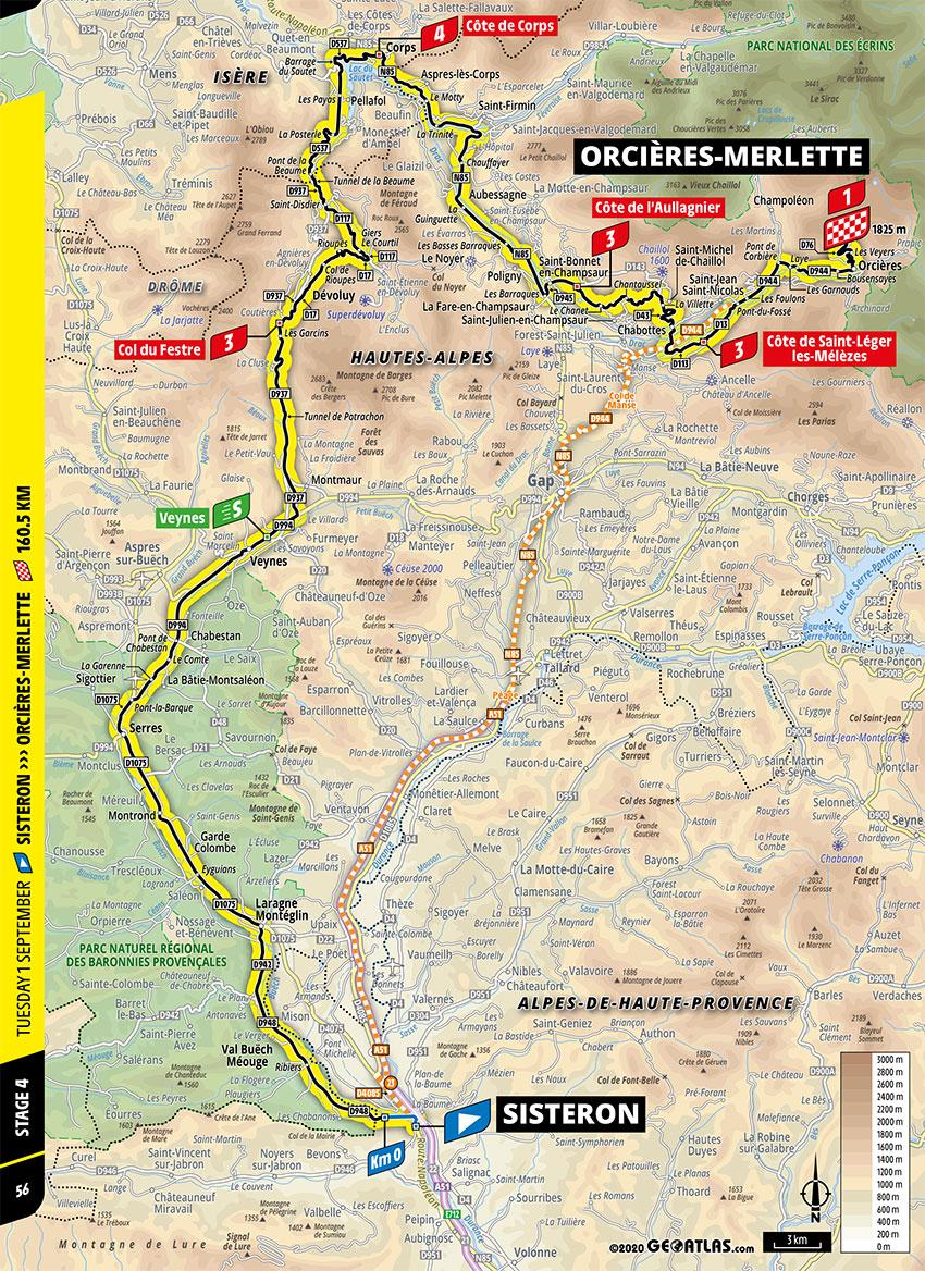 Tour de Francia 2020 - Recorrido de la Etapa 4