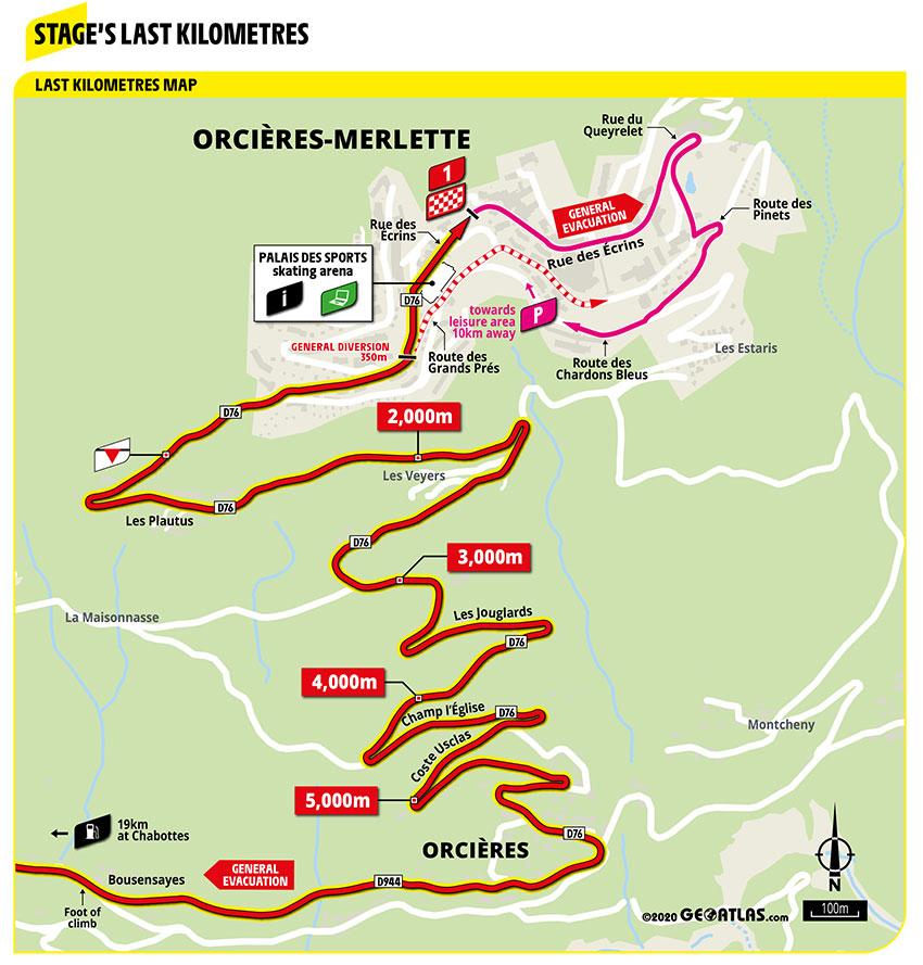 Ultimos kilómetros de la Etapa 4 del Tour de Francia 2020