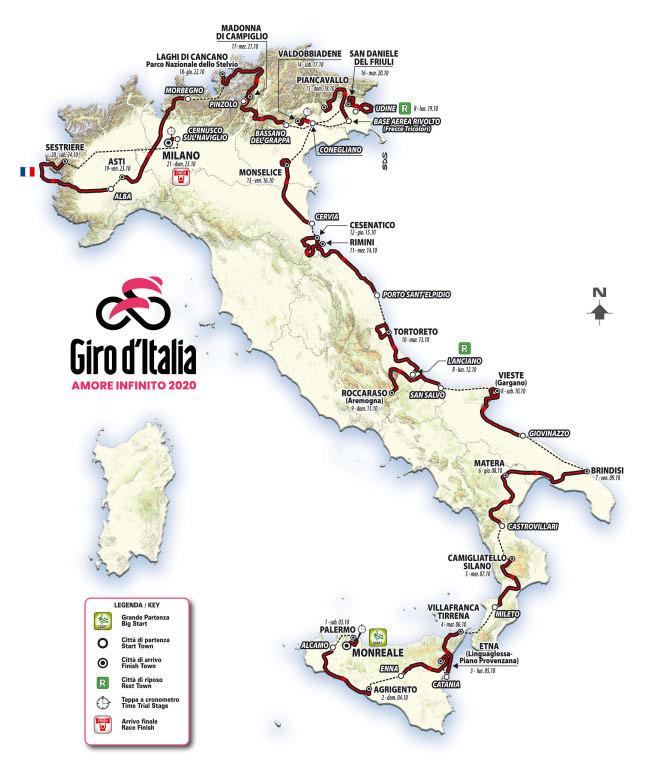 Recorrido del Giro de Italia 2020