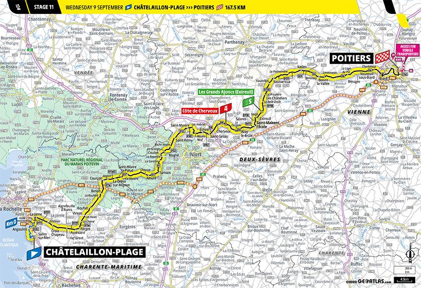 Tour de Francia 2020 - Recorrido de la Etapa 11